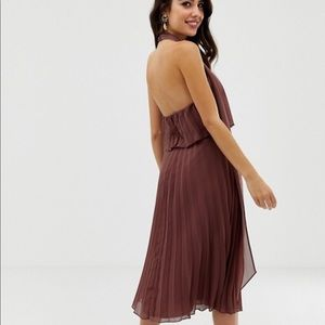 ASOS DESIGN halter tie neck midi dress in pleat 10